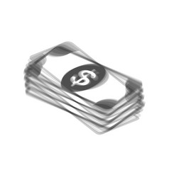 Bank note dollar sign gray icon shaked at vector