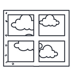 Bedroom windows day isolated icon vector