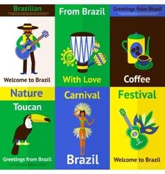Brazil Mini Poster Set vector image vector image