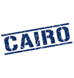 Cairo blue square stamp vector