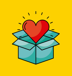 Cardboard box with heart cartoon coming out vector
