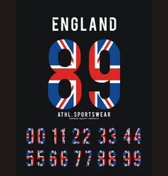 england set number textured flag vector image vector image