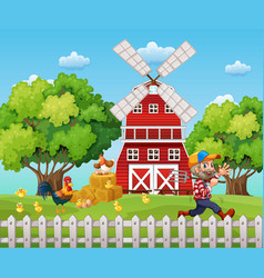 Farmer working on the farm vector