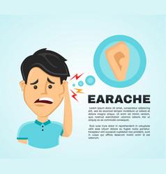 flat man with a earache vector image
