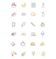 Food colored outline icons 6 vector