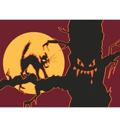 Halloween cat in tree vector