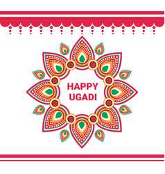 Happy ugadi gudi padwa hindu new year greeting vector