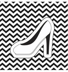 heeled shoe sticker on pop art zig zag linear vector image