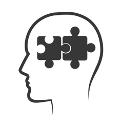 Human head profile with puzzle pieces vector