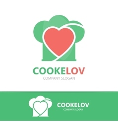 Logo combination of a heart and chef hat vector