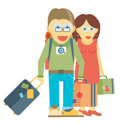 Man and woman traveling together vector