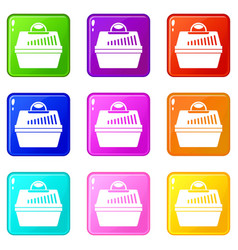 Portable cage for pets icons 9 set vector
