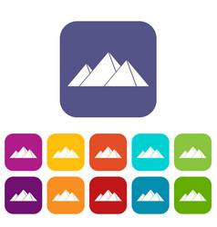 Pyramids in giza icons set flat vector
