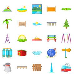 Scenery icons set cartoon style vector