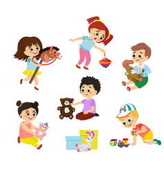set of children play with toys vector image