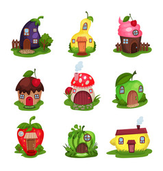 Set of fantasy houses in form of eggplant pear vector