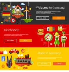 Set of flat design flyers headers with Germany vector image vector image