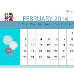 Simple 2014 calendar February vector image vector image