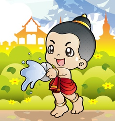 Songkran Thai new year and water festival vector image vector image