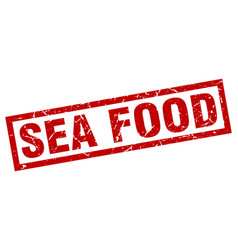 square grunge red sea food stamp vector image vector image