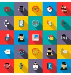 Support service 24 hours icons set flat style vector image