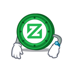 Waiting zcoin mascot cartoon style vector