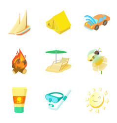 Warm summer icons set cartoon style vector