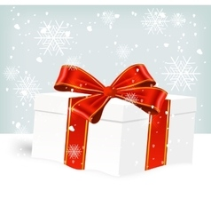 white Christmas gift box on snow vector image vector image