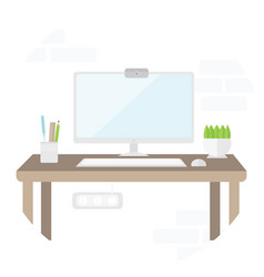 workplace with computer in flat design place for vector image