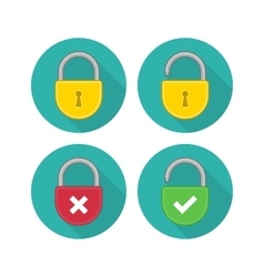 Yellow lock icon set vector image
