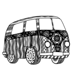 Hippie vintage car vector