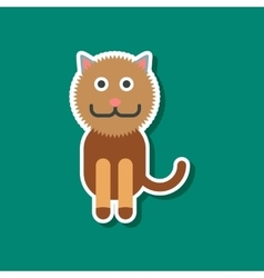 Paper sticker on stylish background pet cat vector