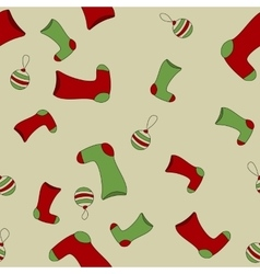 Seamless christmas pattern with xmas socks stars vector