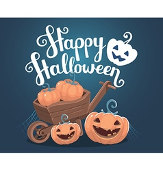 Halloween of decorative orange pumpkins with vector