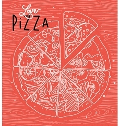 Poster love pizza coral vector