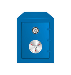 bank safe in blue design with combination lock vector image