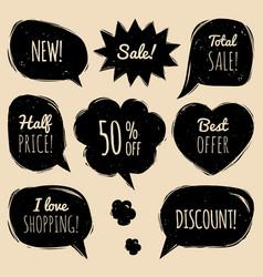 Set of comic speech bubbles with sale vector