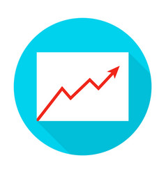 Growth graph flat circle icon vector