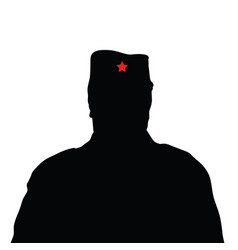 Man silhouette with red star on hat vector