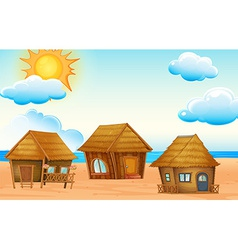 Huts on beach vector image