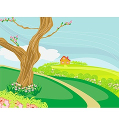 A peaceful village in spring vector