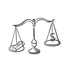 Scales with gold and dollar sign doodle vector image