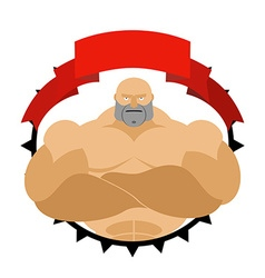 Strong man in circle logo for fitness room or vector
