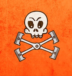 Engine pistons with skull cartoon vector