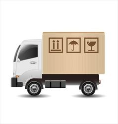 Delivery truck with a cardboard box vector