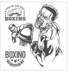 Fight between two boxers - monochrome vector