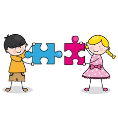 Child with puzzle pieces vector
