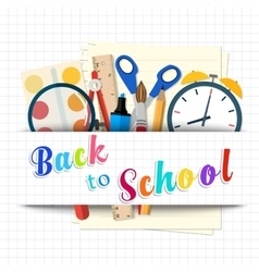 Back to school background with supplies tools vector image vector image