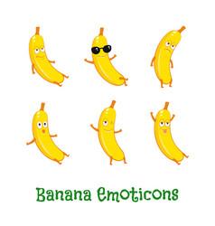 Banana smiles cute cartoon emoticons emoji icons vector