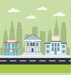Buildings center bank market school cityscape vector